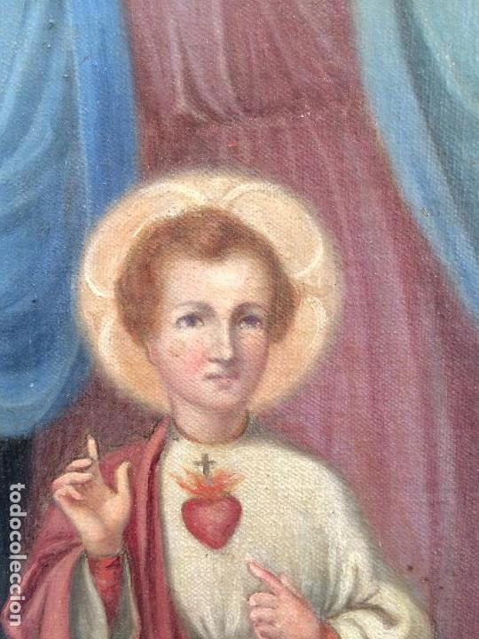 Arte: Bonito oleo sobre lienzo Virgen Sagrado Corazon - Foto 3 - 133750338