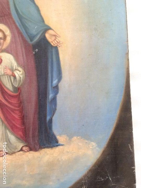 Arte: Bonito oleo sobre lienzo Virgen Sagrado Corazon - Foto 4 - 133750338
