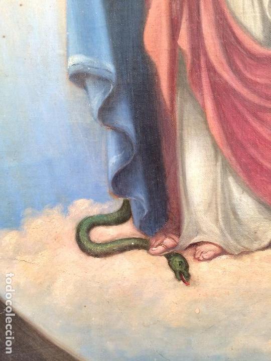 Arte: Bonito oleo sobre lienzo Virgen Sagrado Corazon - Foto 5 - 133750338