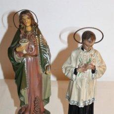 Arte: DOS FIGURAS RELIGIOSAS, SANTA LUCÍA Y MONAGUILLO EN ESTUCO POLICROMADO DE PRINCIPIOS DEL SIGLO XX. Lote 133757530
