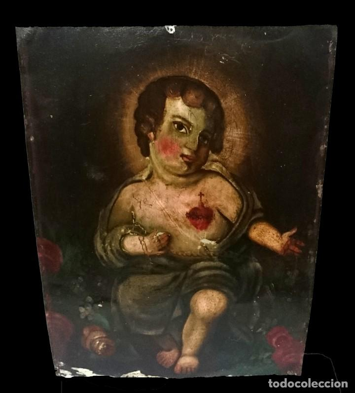 ESPECTACULAR ÓLEO SOBRE CHAPA DE NIÑO JESÚS. SIGLO XVIII. PIEZA POPULAR. 49X36 CM. (Arte - Arte Religioso - Pintura Religiosa - Oleo)