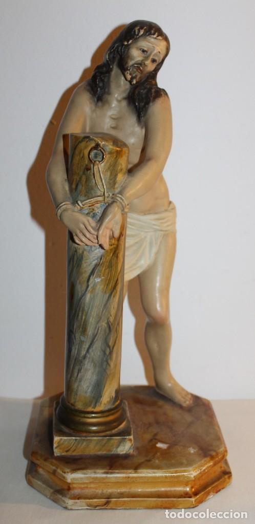 CRISTO EN LA COLUMNA - ESTUCO POLICROMADO - PRINCIPIOS DEL SIGLO XX (Arte - Arte Religioso - Escultura)