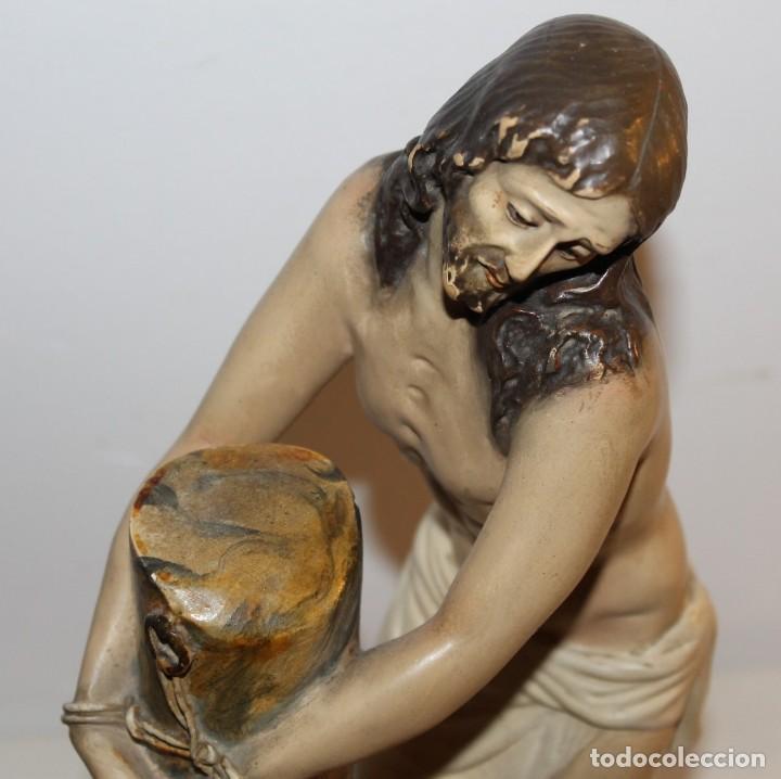 Arte: CRISTO EN LA COLUMNA - ESTUCO POLICROMADO - PRINCIPIOS DEL SIGLO XX - Foto 13 - 133838462
