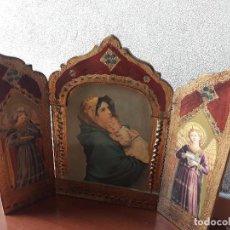 Arte: ANTIGUO TRÍPTICO DE MADERA- VIRGEN Y NIÑO JESUS. Lote 133839046