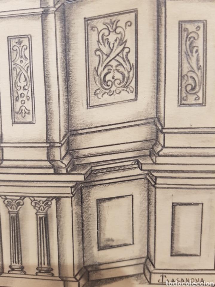 Arte: Jose CASANOVA Pinter?, Antiguo dibujo para retablo de iglesia, Valencia o provincia. 65x43cm - Foto 6 - 133852246