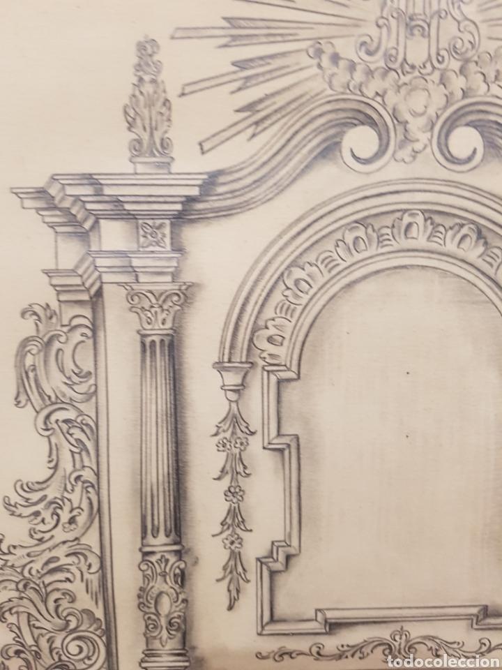 Arte: Jose CASANOVA Pinter?, Antiguo dibujo para retablo de iglesia, Valencia o provincia. 65x43cm - Foto 5 - 133852246