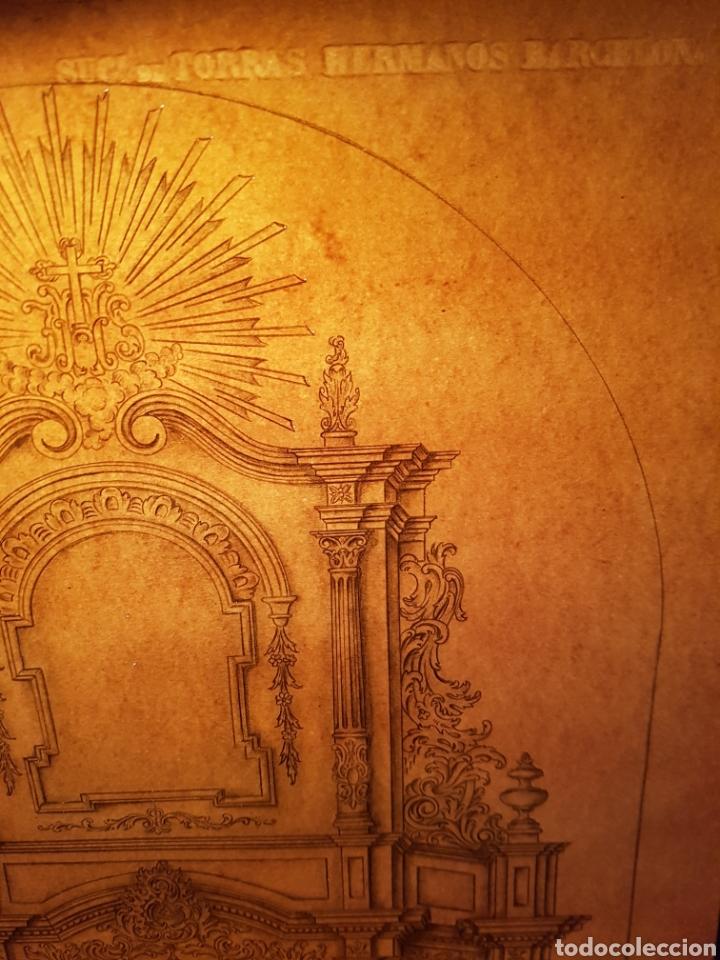 Arte: Jose CASANOVA Pinter?, Antiguo dibujo para retablo de iglesia, Valencia o provincia. 65x43cm - Foto 18 - 133852246