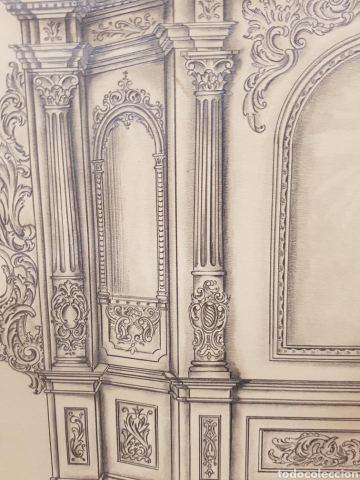 Arte: Jose CASANOVA Pinter?, Antiguo dibujo para retablo de iglesia, Valencia o provincia. 65x43cm - Foto 9 - 133852246