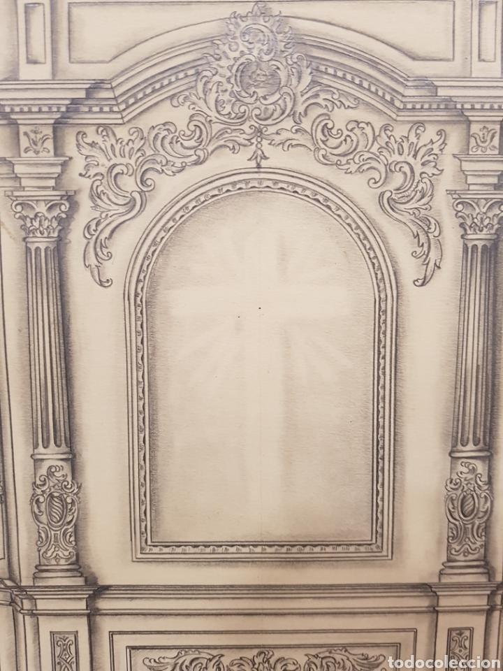 Arte: Jose CASANOVA Pinter?, Antiguo dibujo para retablo de iglesia, Valencia o provincia. 65x43cm - Foto 11 - 133852246