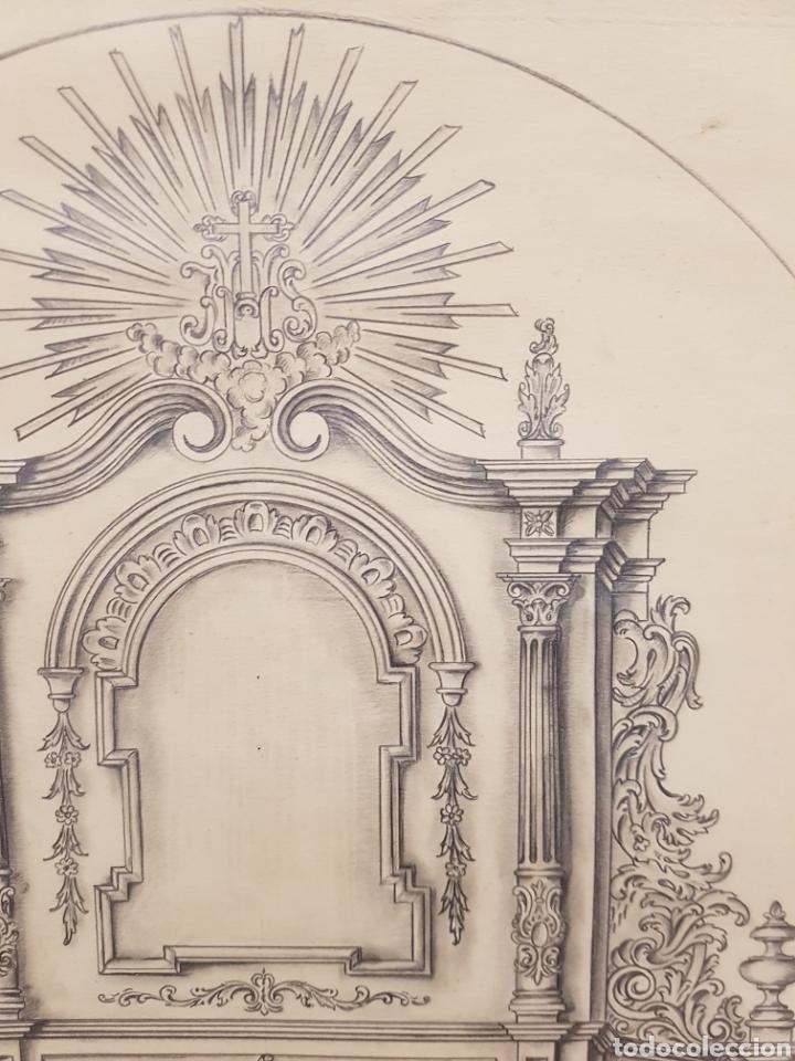 Arte: Jose CASANOVA Pinter?, Antiguo dibujo para retablo de iglesia, Valencia o provincia. 65x43cm - Foto 12 - 133852246