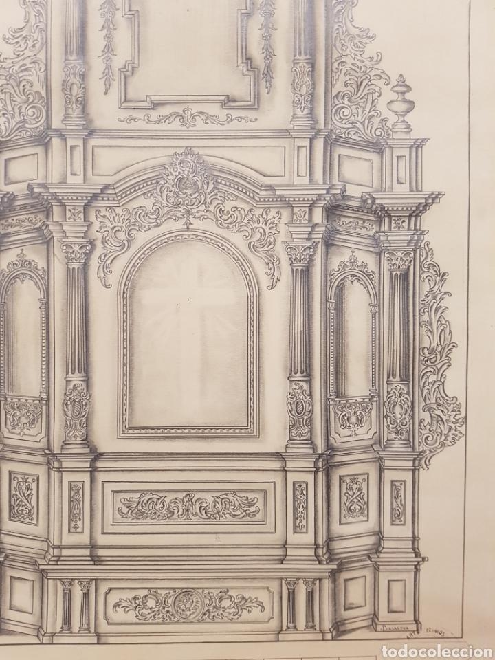 Arte: Jose CASANOVA Pinter?, Antiguo dibujo para retablo de iglesia, Valencia o provincia. 65x43cm - Foto 4 - 133852246