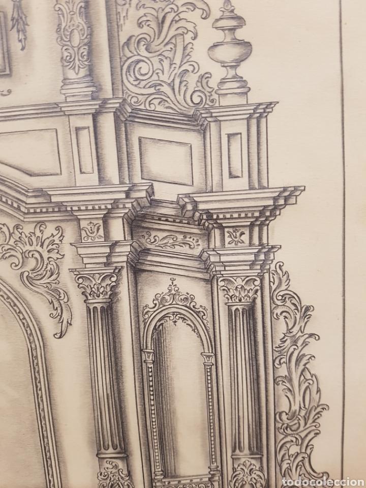 Arte: Jose CASANOVA Pinter?, Antiguo dibujo para retablo de iglesia, Valencia o provincia. 65x43cm - Foto 14 - 133852246