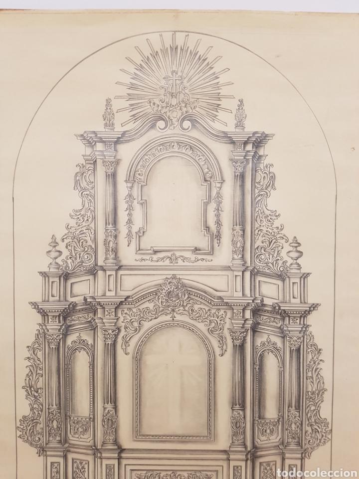 Arte: Jose CASANOVA Pinter?, Antiguo dibujo para retablo de iglesia, Valencia o provincia. 65x43cm - Foto 3 - 133852246