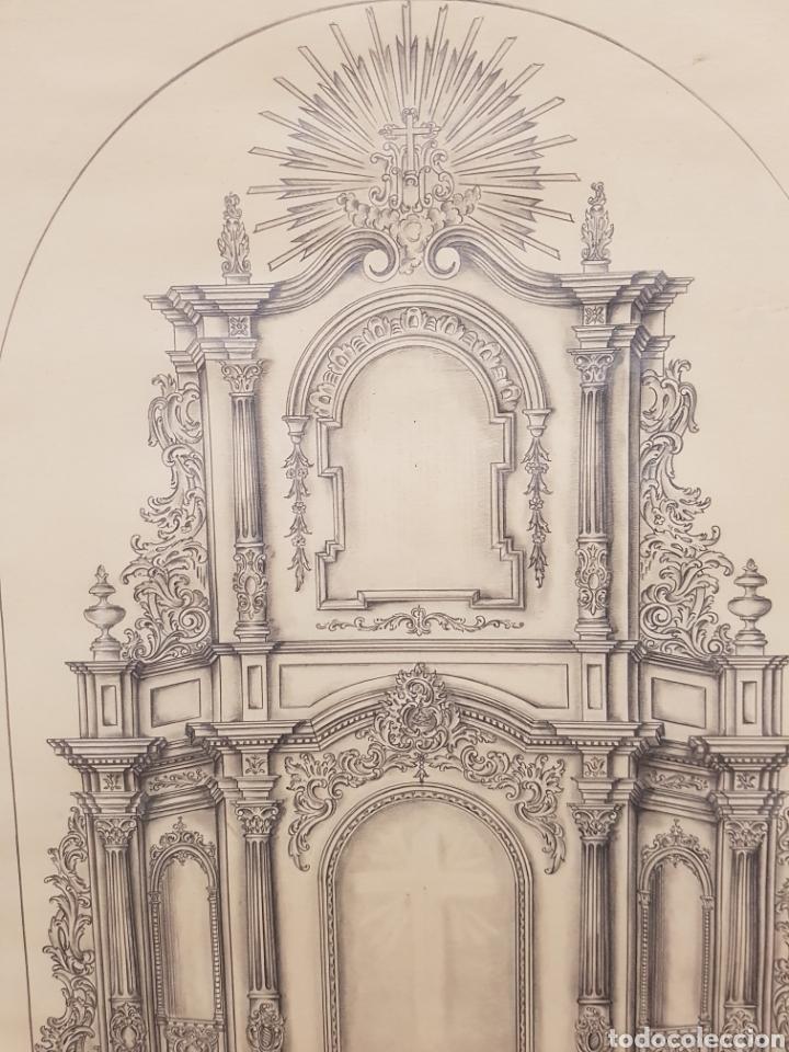 Arte: Jose CASANOVA Pinter?, Antiguo dibujo para retablo de iglesia, Valencia o provincia. 65x43cm - Foto 2 - 133852246