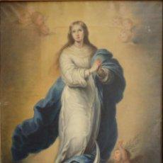 Kunst - Inmaculada Concepción. Óleo sobre lienzo con medidas de 110 x 78 cm. Siglo XIX. - 133863010