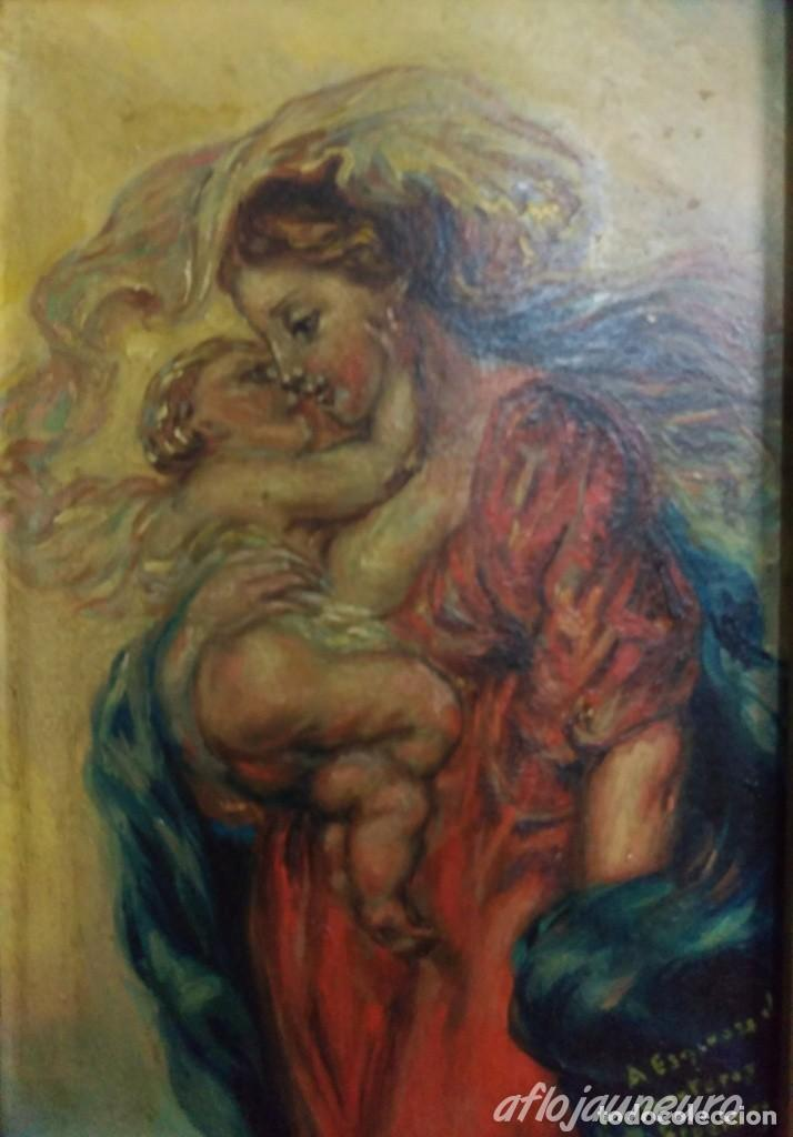 OLEO SOBRE CARTON PRIMERA MITAD S.XX MATERNIDAD VIRGEN CON NIÑO- A ESPINOSA DE LOS MONTEROS (Arte - Arte Religioso - Pintura Religiosa - Oleo)