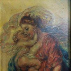 Arte: OLEO SOBRE CARTON PRIMERA MITAD S.XX MATERNIDAD VIRGEN CON NIÑO- A ESPINOSA DE LOS MONTEROS. Lote 133883630