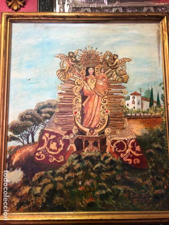 OLEO SOBRE LIENZO VIRGEN ANGELES DE ALAJAR (HUELVA) - MEDIDA 61X51 CM - RELIGIOSA (Arte - Arte Religioso - Pintura Religiosa - Oleo)