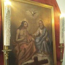 Arte: MUY ANTIGUA SANTÍSIMA TRINIDAD S. XVIII/XIX O/L. Lote 133977163