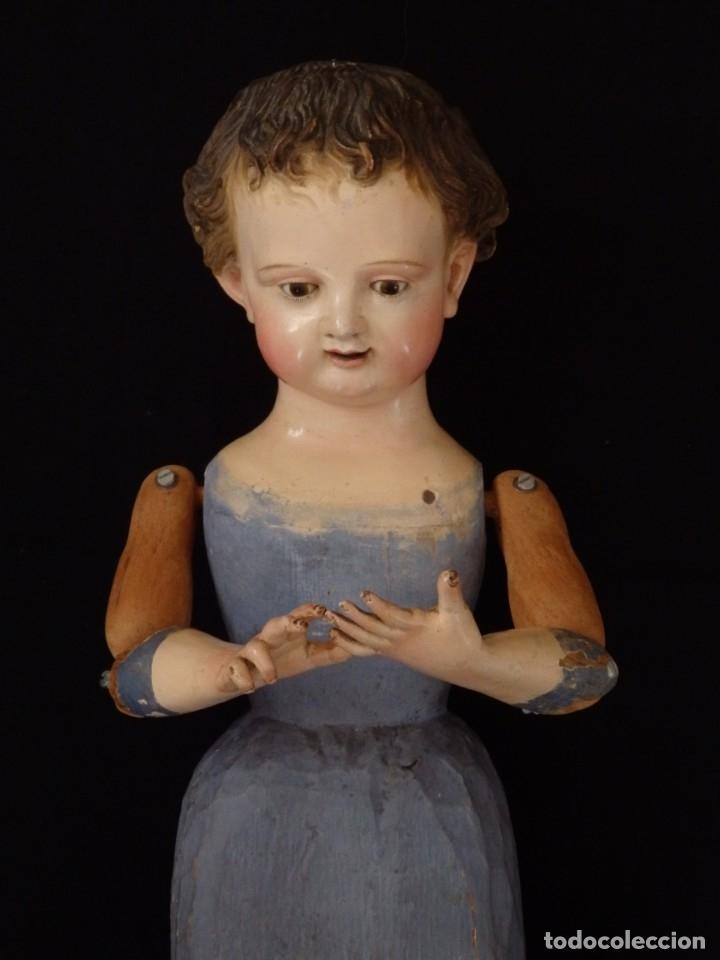 Arte: Niño Jesús. Escultura vestidera o cap i pota en madera policromada. 70 cm. Granada. S. XVIII. - Foto 6 - 134050710