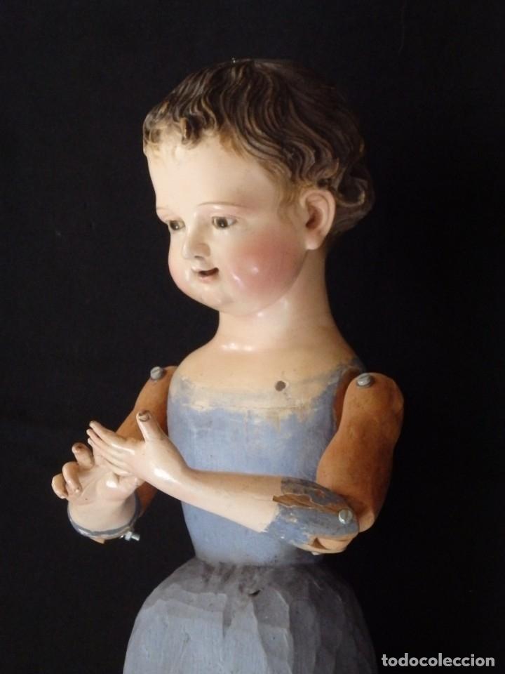 Arte: Niño Jesús. Escultura vestidera o cap i pota en madera policromada. 70 cm. Granada. S. XVIII. - Foto 12 - 134050710