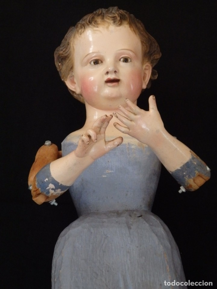 Arte: Niño Jesús. Escultura vestidera o cap i pota en madera policromada. 70 cm. Granada. S. XVIII. - Foto 14 - 134050710