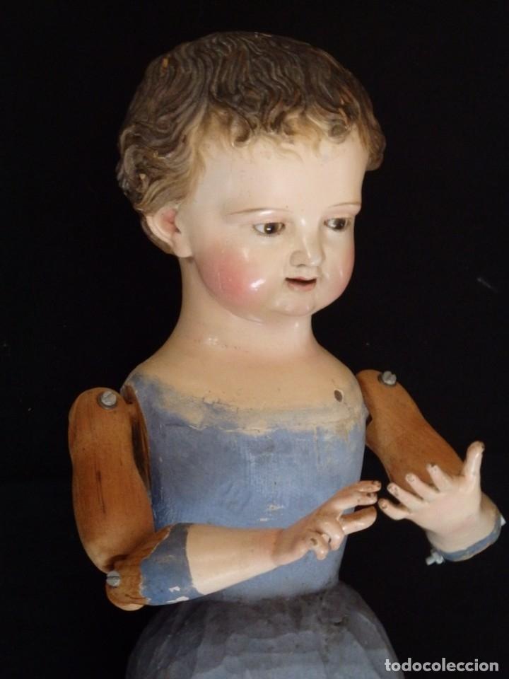 Arte: Niño Jesús. Escultura vestidera o cap i pota en madera policromada. 70 cm. Granada. S. XVIII. - Foto 16 - 134050710