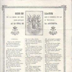 Arte: GOIGS EN LLAHOR DE LA MAR DE DÉU DE VALLVIDRERA AMB LO TÍTOL DE LA ASSUMPTA (1975). Lote 134058114