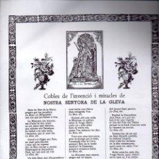 Arte: GOIGS COBLES DE L'INVENCIÓ I MIRACLES DE NOSTRA SENYORA DE LA GLEVA (S.F) . Lote 134058318
