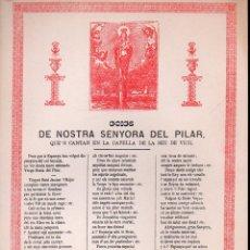 Arte: GOIGS GOZOS DE NOSTRA SENYORA DEL PILAR DE LA SEU DE VICH. Lote 134058586