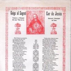 Arte: GOIGS AL SAGRAT COR DE JESÚS DEL PRAT DE LA BARROCA - TOSSA. Lote 134058866