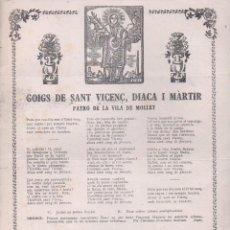 Arte: GOIGS DE SANT VICENÇ DIACA I MARTIR - MOLLET. Lote 134059966