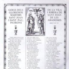 Arte: GOIGS DELS GLORIOSOS MÀRTIRS SANT JOAN I SANT PAU DE LA VILA I RIBERA DE SANT JOAN DELES ABADESSES. Lote 134060946