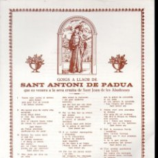 Arte: GOIGS A LLAOR DE SANT ANTONI DE PÀDUA DE SANT JOAN DELES ABADESSES (1986). Lote 134060994