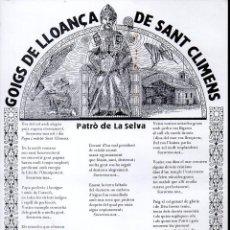 Arte: GOIGS DE LLOANÇA DE SANT CLIMENS PATRÓ DE LA SELVA (1988). Lote 134061078