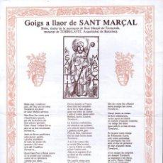 Arte: GOIGS A LLAOR DE SANT MARÇAL - TERRASSOLA TORRELAVIT (1986). Lote 134061190