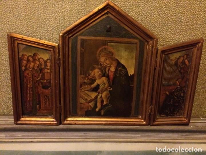 ANTIGUO TRIPTICO RETABLO 57X37CM. NO ES POLICROMÍA. (Arte - Arte Religioso - Trípticos)