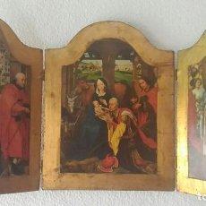 Art: TRÍPTICO CON ESCENAS RELIGIOSAS.. Lote 140411100
