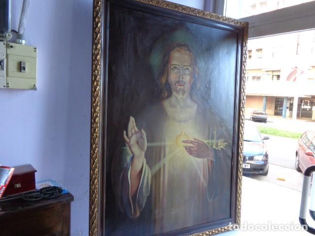 MUY ANTIGUO FINALES 1800, RARO Y BONITO CUADRO AL OLEO SOBRE LIENZO FIRMADO, ENORME Y BUEN ESTADO (Arte - Arte Religioso - Pintura Religiosa - Oleo)
