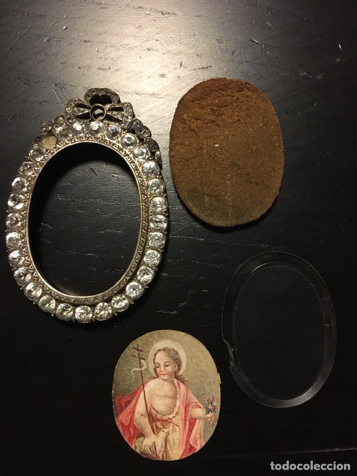 Arte: Divino pastor, miniatura sobre cartón con marco de brillantes, gran tamaño, relicario - Foto 8 - 134440403