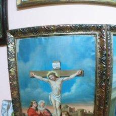 Arte: VIA CRUCIS PASIÓN CALVARIO CRUCIFIXIÓN CRISTO JESUS 14 ESTACIONES OLEO LIENZO FFS S XIX 120X80CMS. Lote 134443218