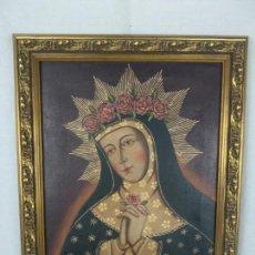 Arte: BELLO OLEO CUZQUEÑO - VIRGEN CORONADA DE ROSAS - DULCE GESTO DE RUEGO - FIRMADO - H. MUÑOZ -. Lote 134447650