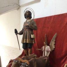 Arte: FIGURA SAN ISIDRO LABRADOR ARCANGEL BUEYES ARANDO GRANDE CONJUNTO ROMERIA PROCESION PPIO S XX 103CMS. Lote 134493482