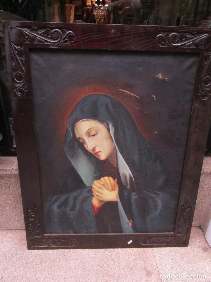VIRGEN DOLOROSA - OLEO LIENZO COMIENZOS XIX - SIN FIRMA 100*75CM, MOLDURA CASTAÑO TALLADO + INFO (Arte - Arte Religioso - Pintura Religiosa - Oleo)