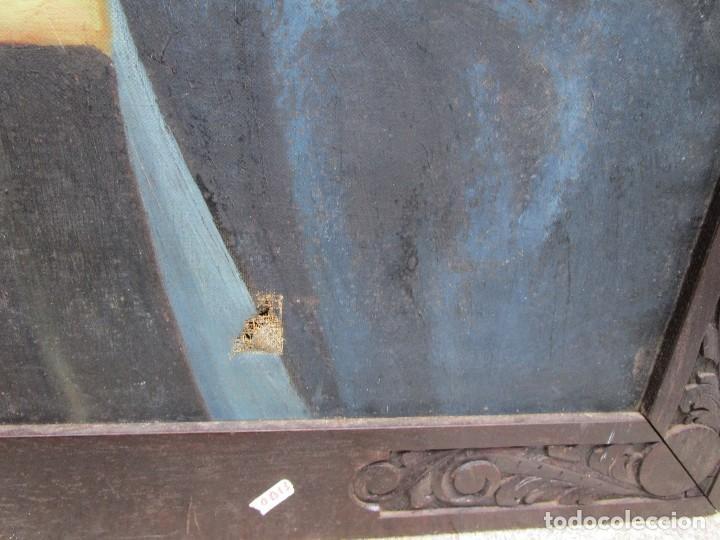 Arte: VIRGEN DOLOROSA - OLEO LIENZO COMIENZOS XIX - SIN FIRMA 100*75CM, MOLDURA CASTAÑO TALLADO + INFO - Foto 3 - 134753114
