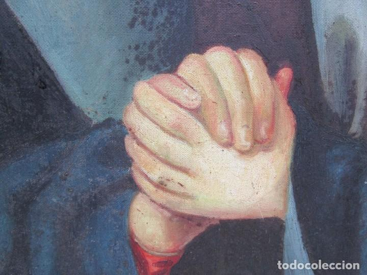 Arte: VIRGEN DOLOROSA - OLEO LIENZO COMIENZOS XIX - SIN FIRMA 100*75CM, MOLDURA CASTAÑO TALLADO + INFO - Foto 8 - 134753114