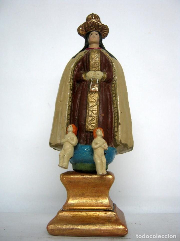 VIRGEN DEL CARMEN S.XIX TERRACOTA POLICROMADA CON QUERUBINES (Arte - Arte Religioso - Escultura)