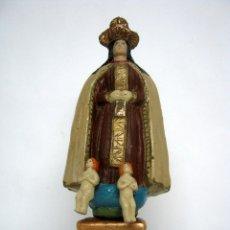 Arte: VIRGEN DEL CARMEN S.XIX TERRACOTA POLICROMADA CON QUERUBINES. Lote 186349065