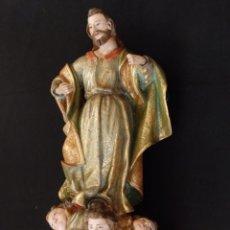 Arte: SANTO EN MADERA TALLADA Y ESTOFADA DE LA ESCUELA ESPAÑOLA. 63 CM. SIGLOS XVII-XVIII.. Lote 134870578