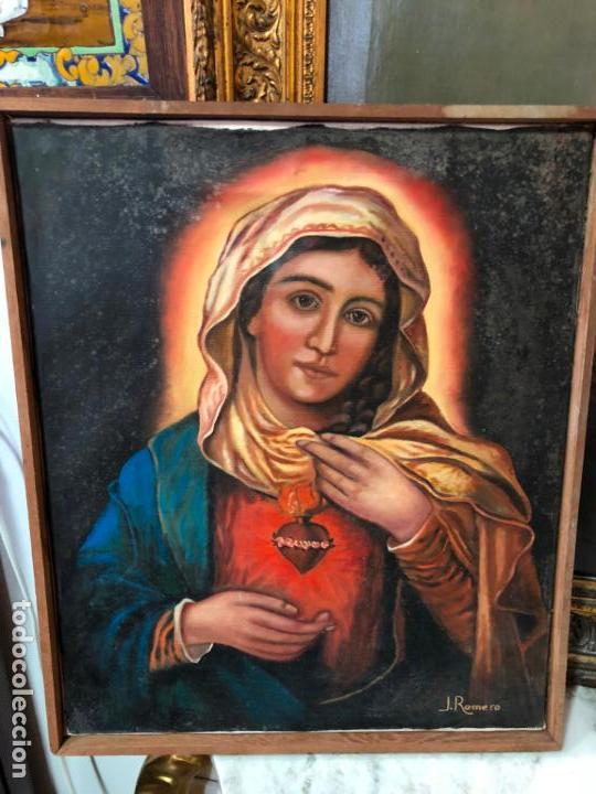 OLEO SOBRE LIENZO VIRGEN DEL SAGRADO CORAZON FIRMADO POR J. ROMERO - MEDIDA 48X40 CM - RELIGIOSO (Arte - Arte Religioso - Pintura Religiosa - Oleo)